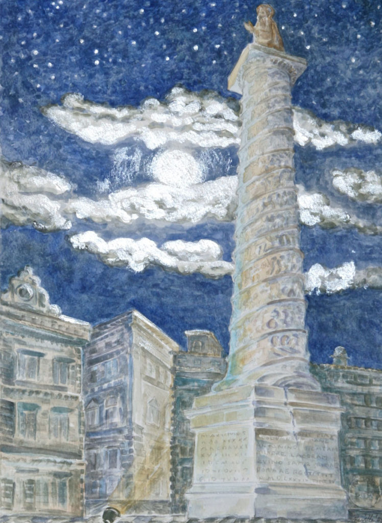 watercolor: Marcus Aurelius Column, Rome, Italy