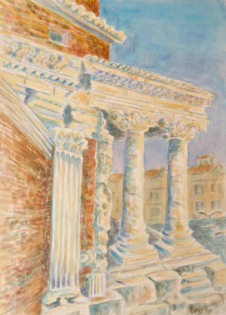 watercolor: Pantheon, Portico, Rome, Italy
