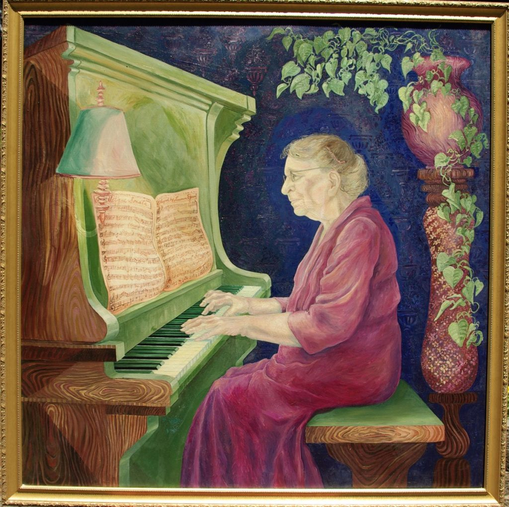 oil painting of Leonora H. Egan Playing the piano