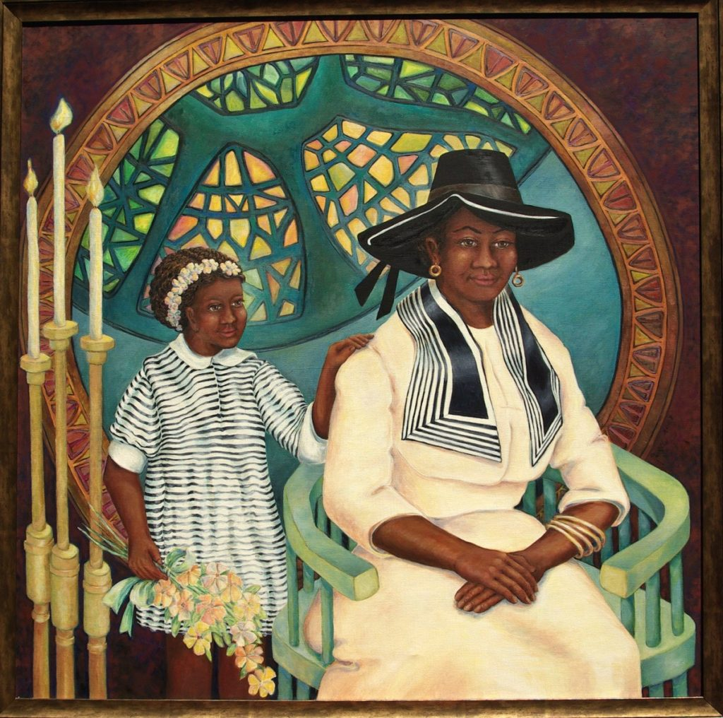 oil painting of Geraldine Hodge and Daughter