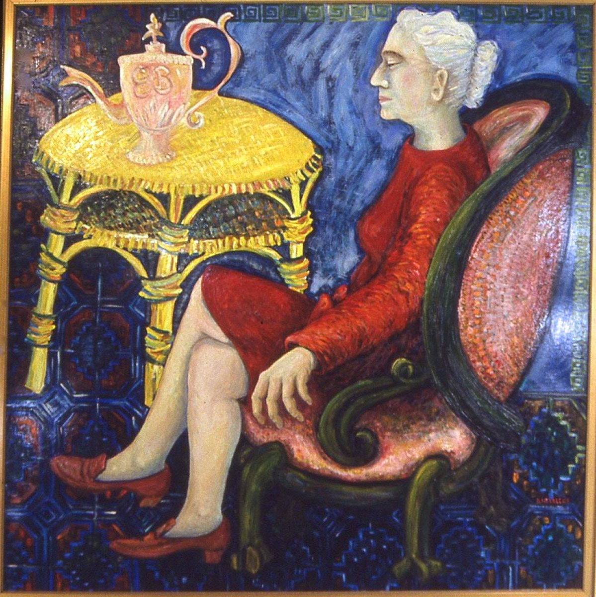 oil painting of Dr. Elah Bliss with a Tea Urn