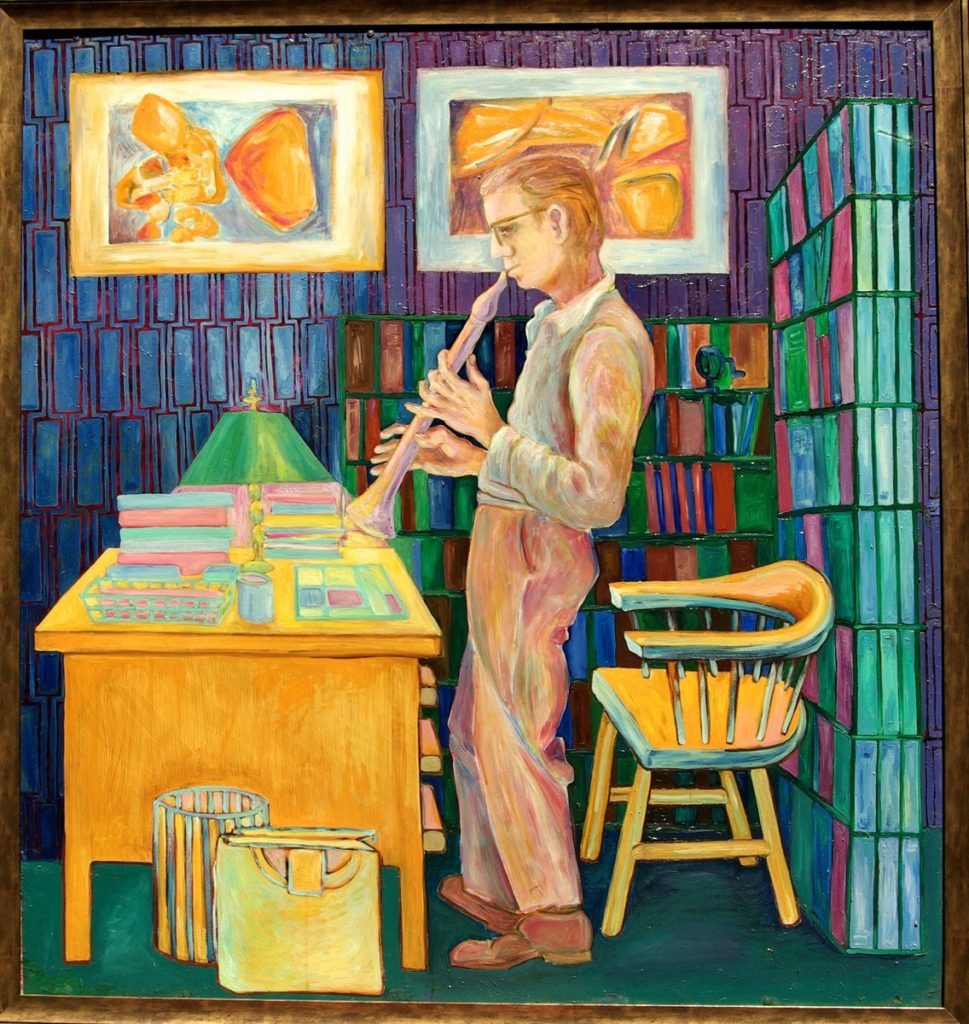 oil painting of Robert Neville Playing the Recorder