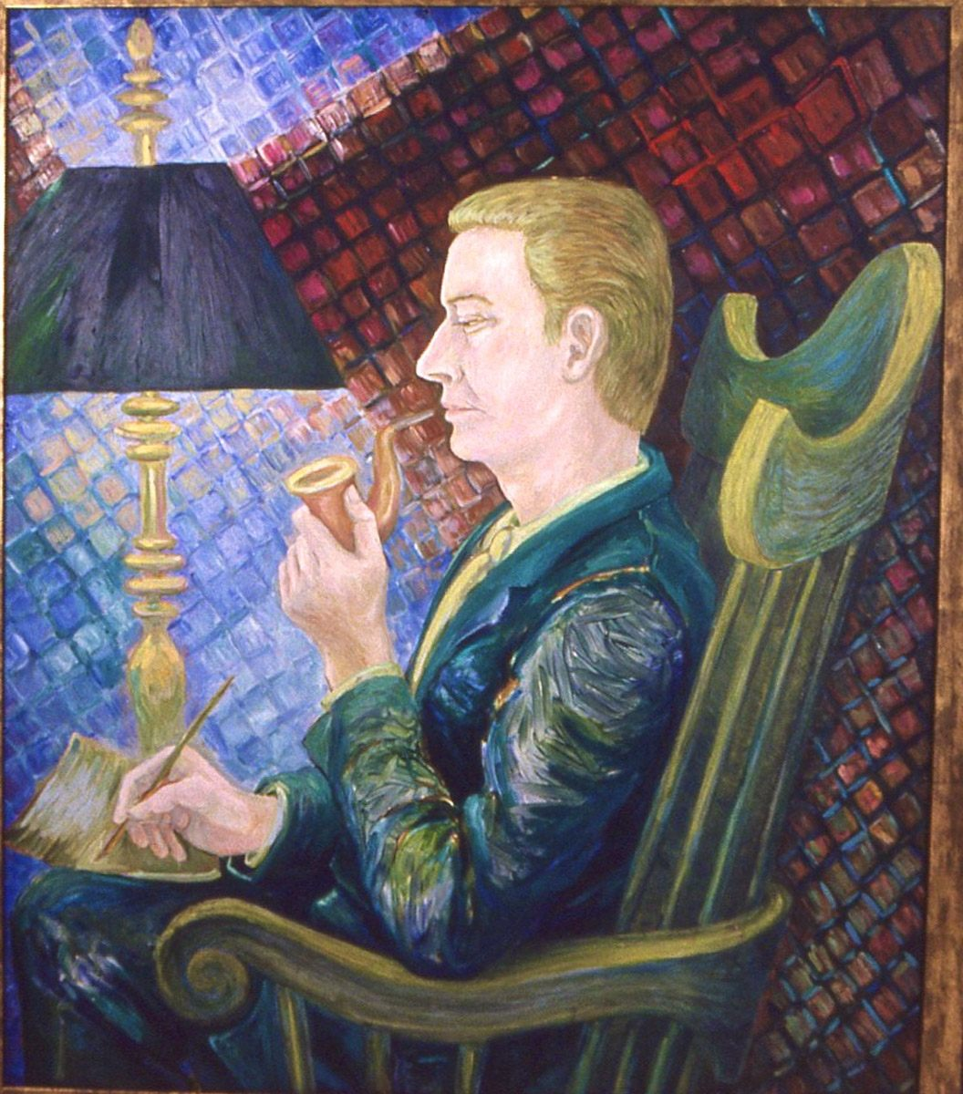 oil painting of Robert Neville Smoking Pipe