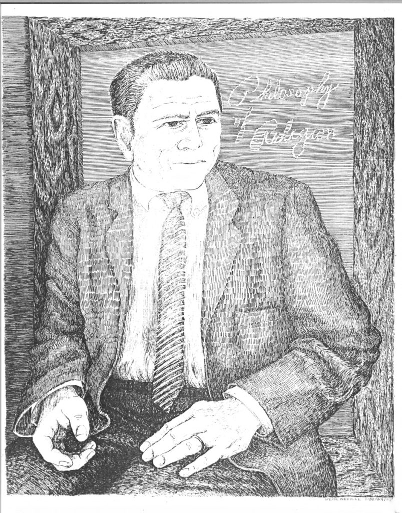 pen on paper portrait of Dr. John E. Smith