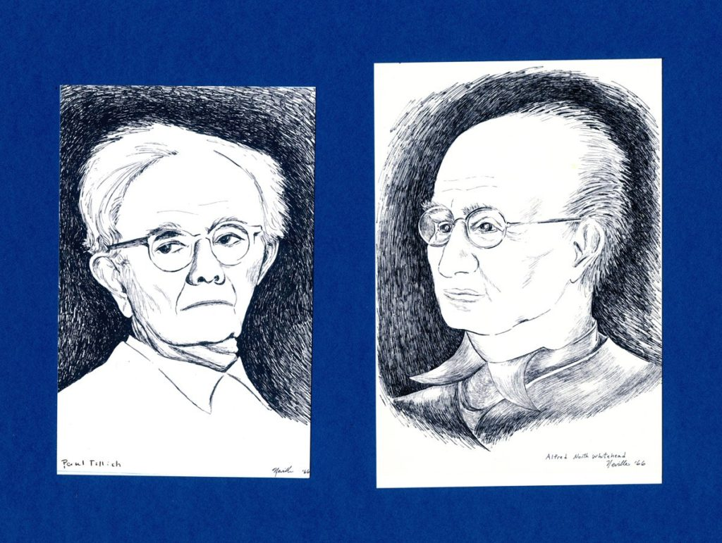 pen on paper portraits of Paul Tillich and Alfred North Whitehead