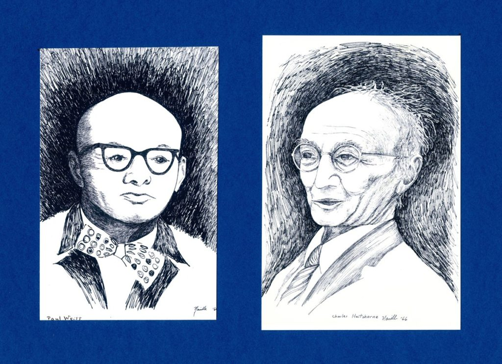 pen on paper portraits of Paul Weiss and Charles Hartshorne