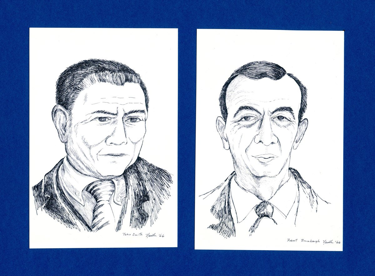 pen on paper portraits of John Smith and Robert Brumbaugh