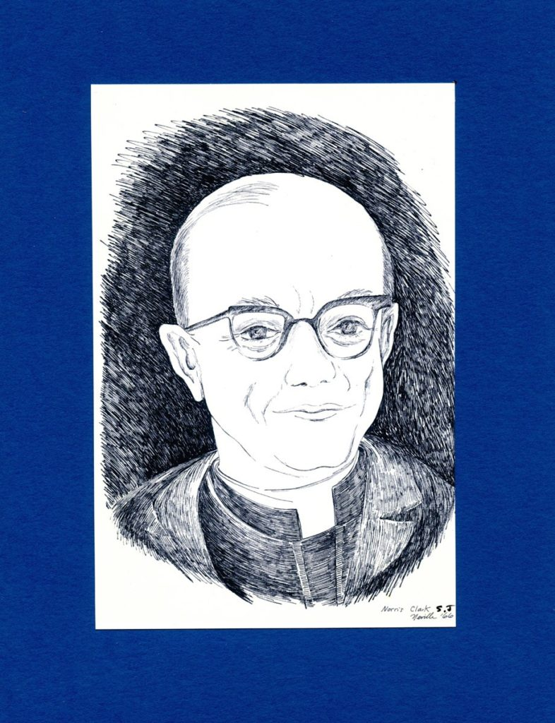 pen on paper portrait of Rev. Norris Clarke