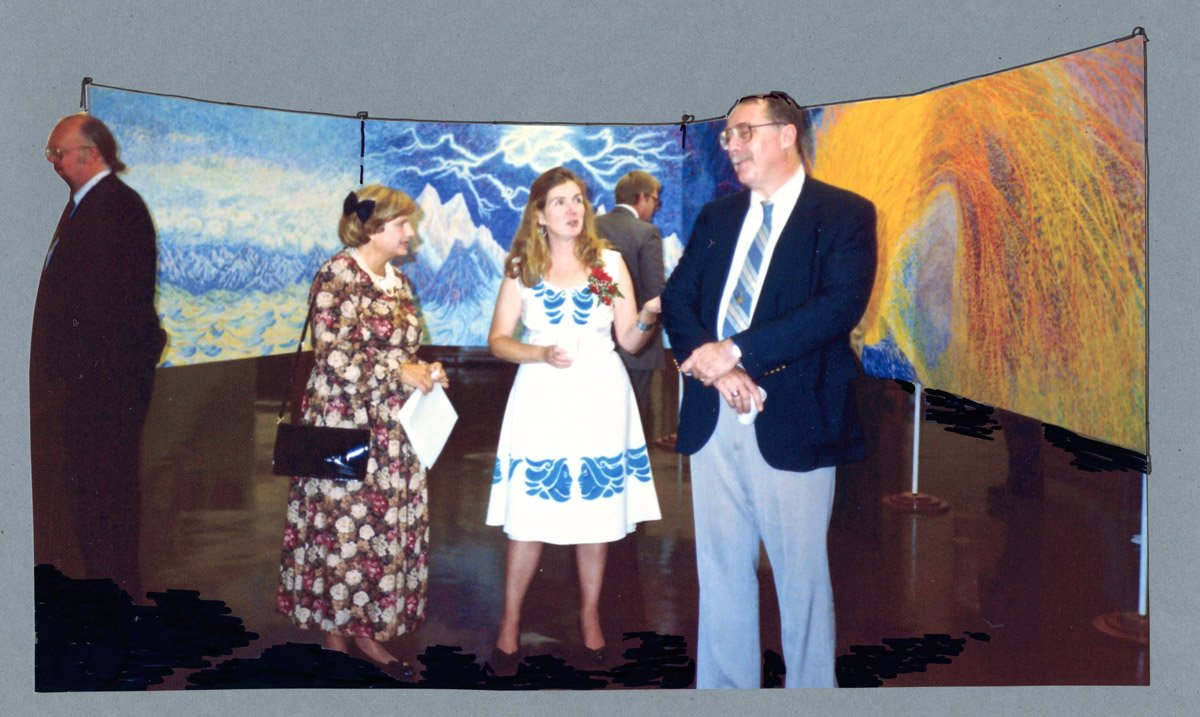 Beth Neville in hand-made blue and white dress
