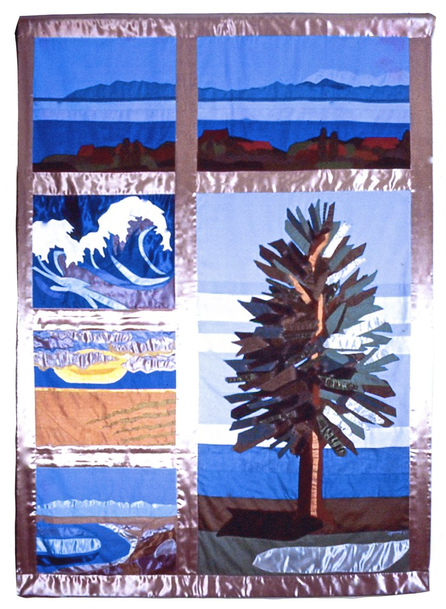 fabric banner of California coast