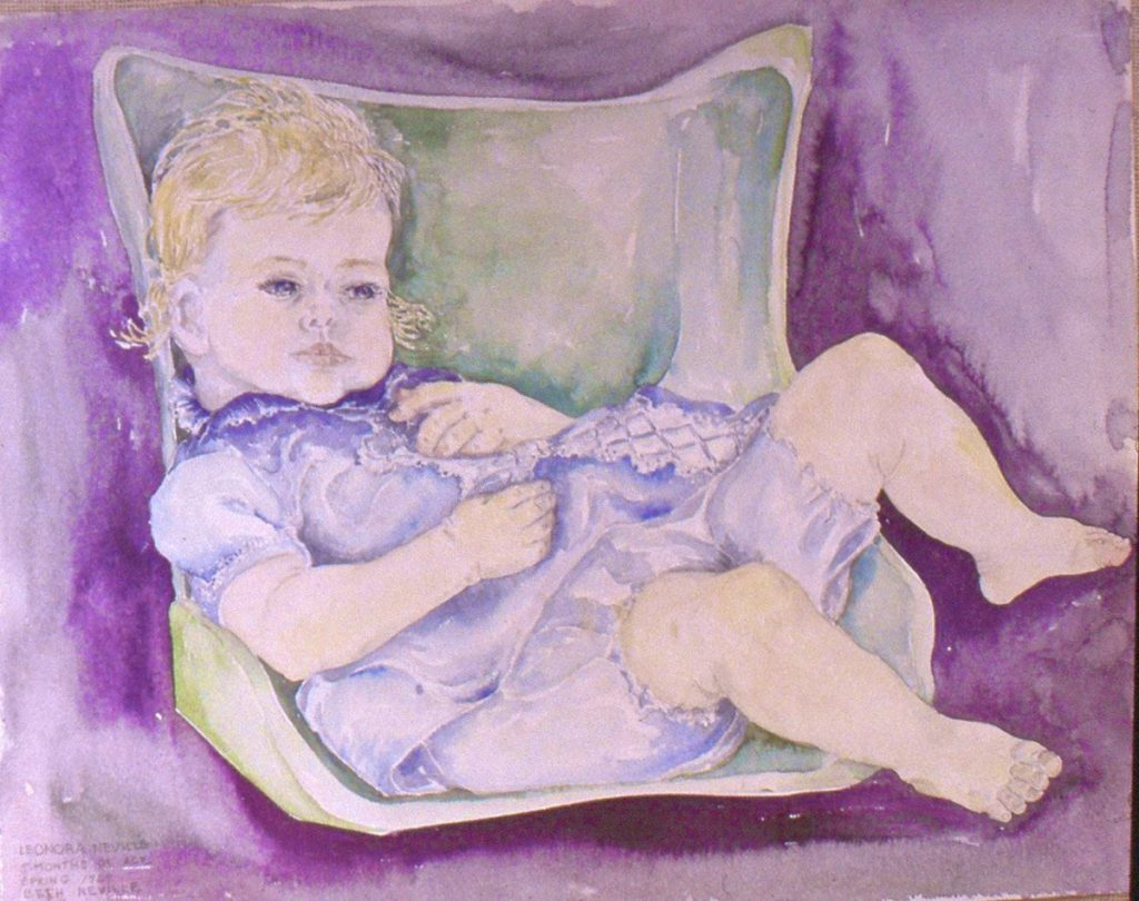 watercolor painting of Leonora in Blue Dress