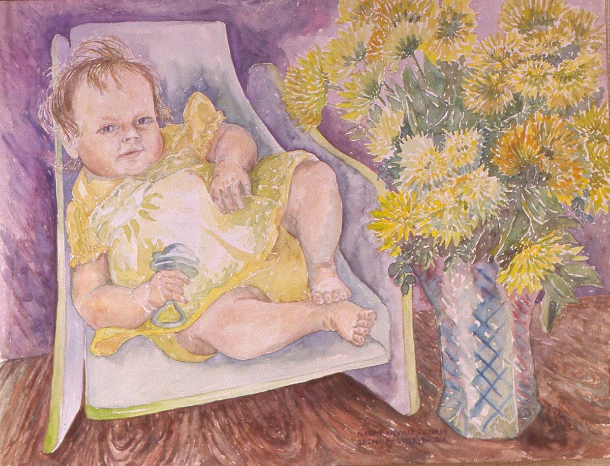 watercolor painting of Naomi in Yellow Dress