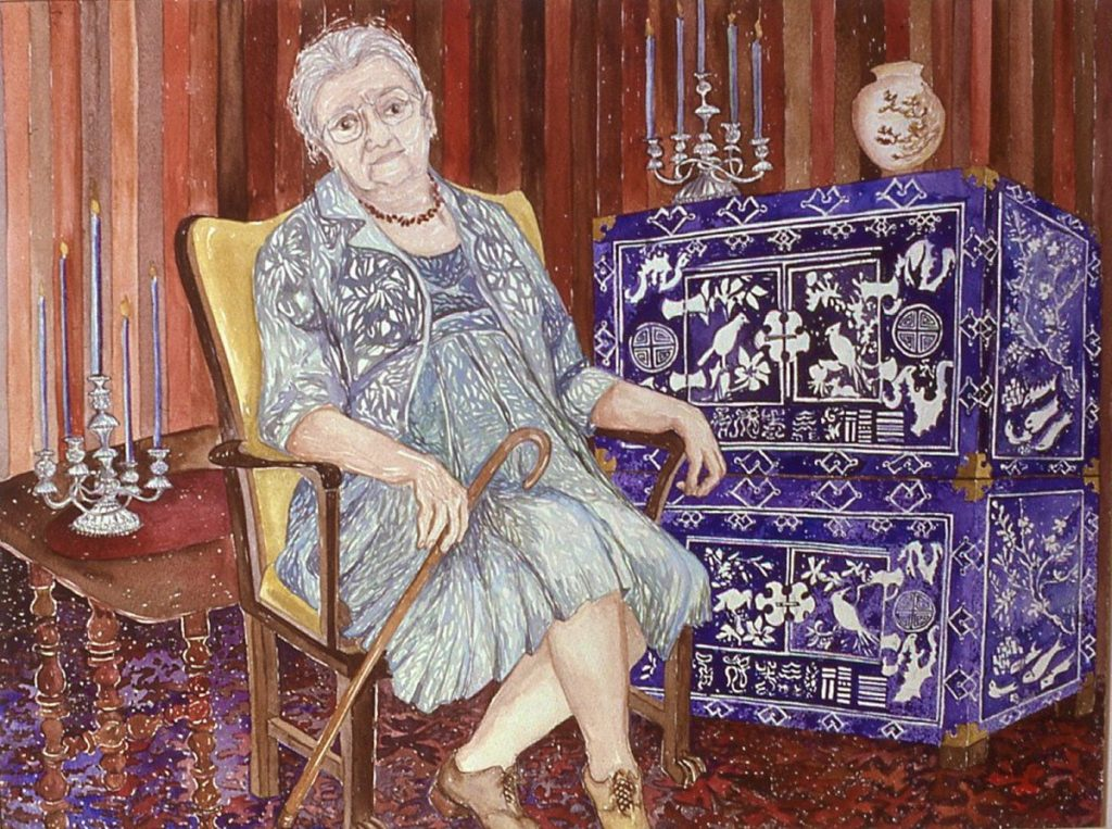 watercolor portrait of Leonora H. Egan, next to a Korean Cabinet