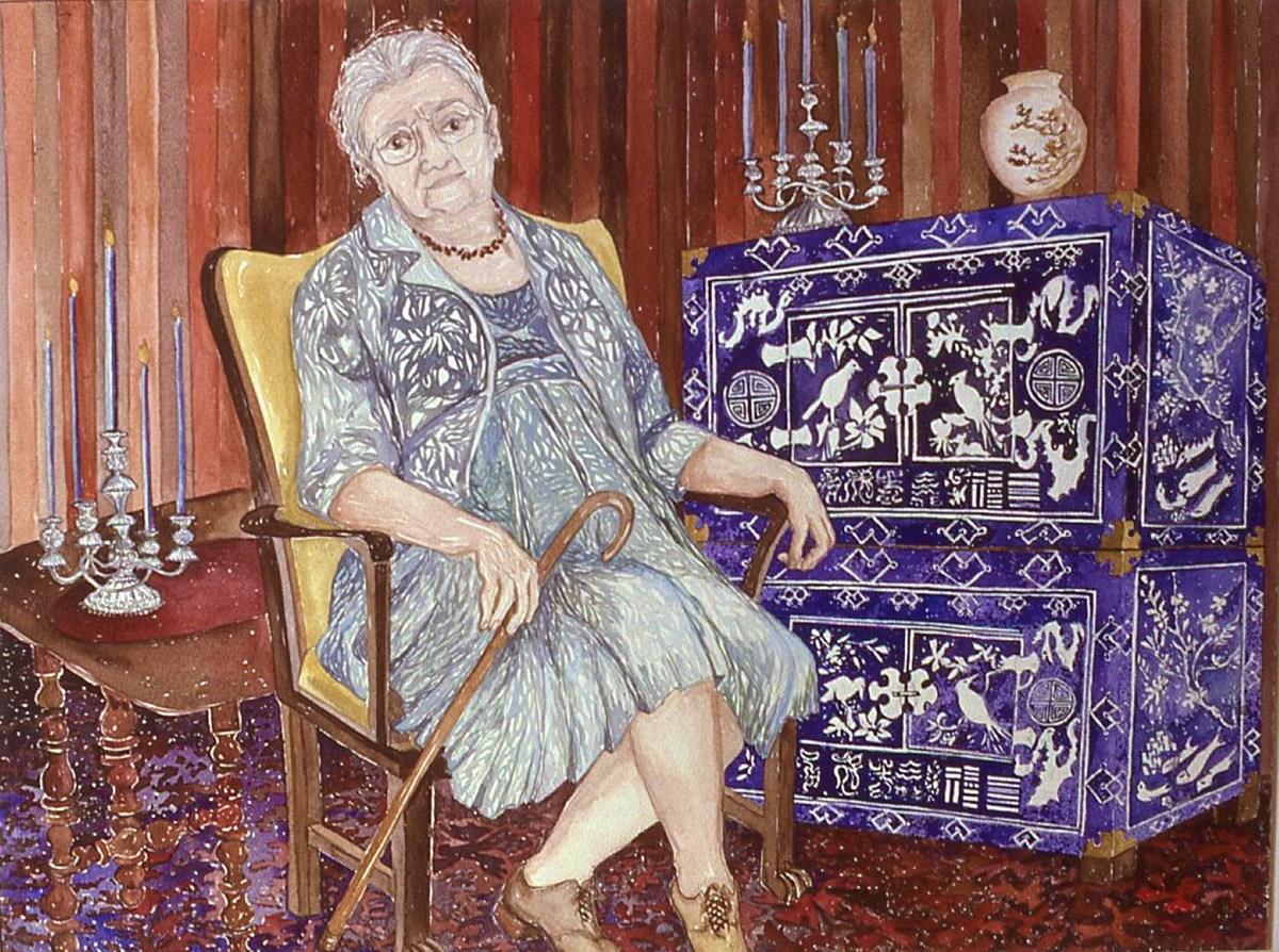 watercolor portrait of Leonora H. Egan, next to a Korean Cabinet