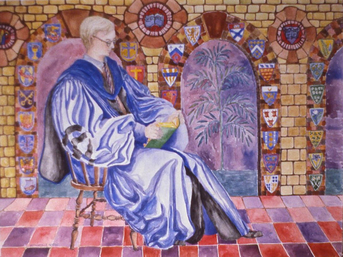 watercolor painting of Robert Neville in academic robe