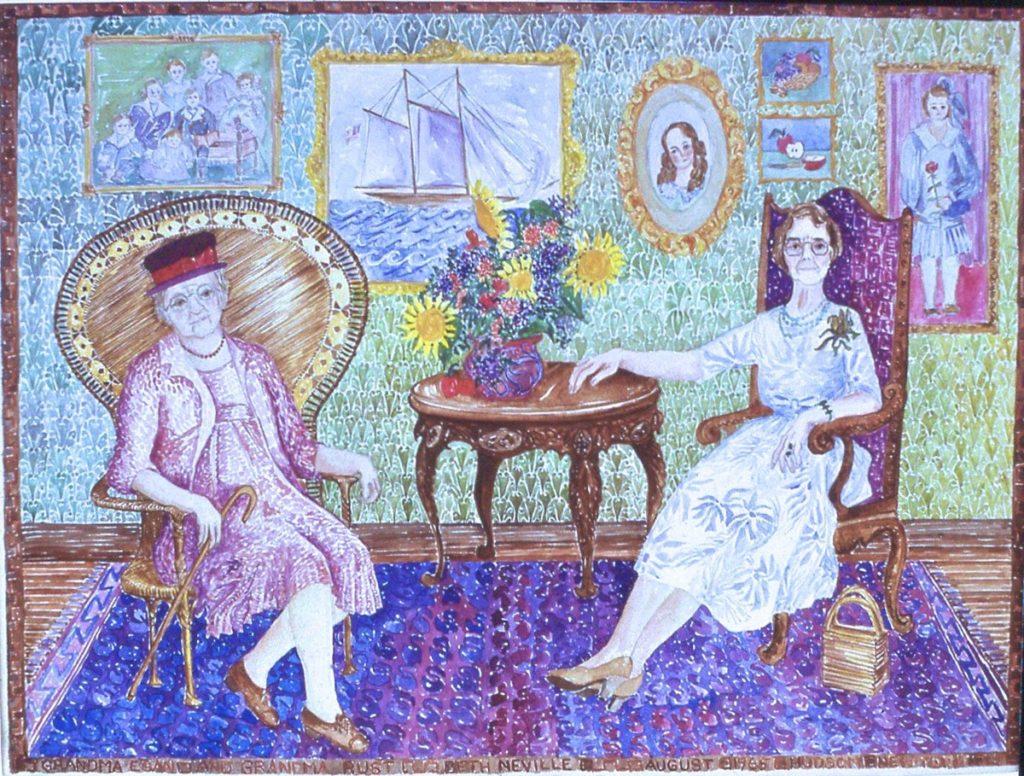 watercolor portrait of Beth Neville's Grandma Rust and Grandma Egan
