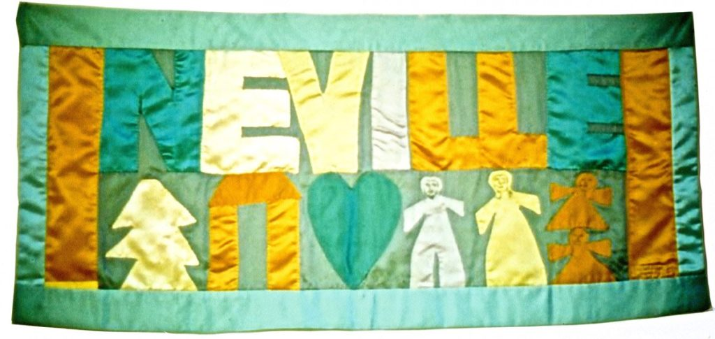 fabric banner with Neville family name