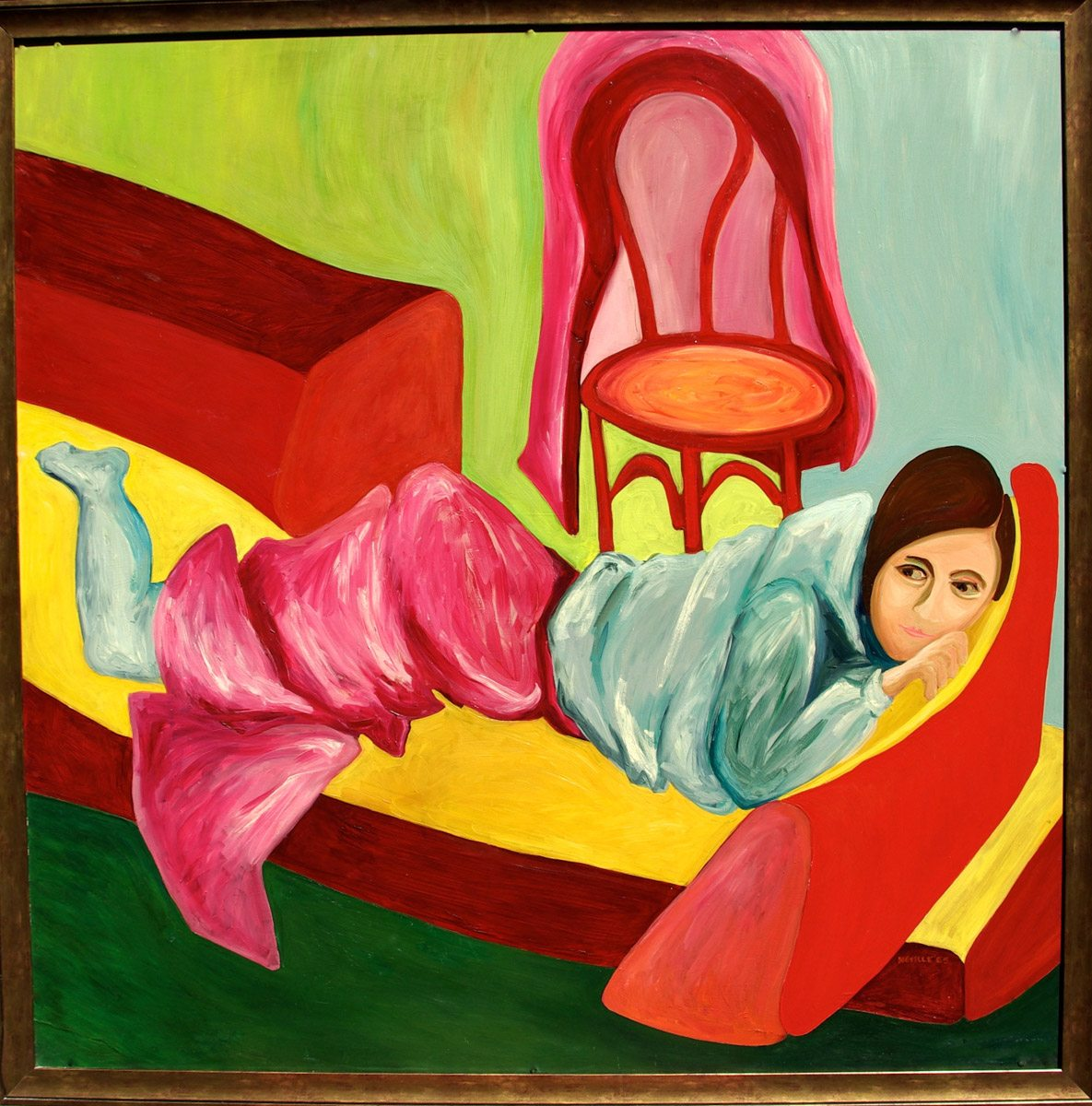 oil painting of Beth Neville's Mom on the Couch