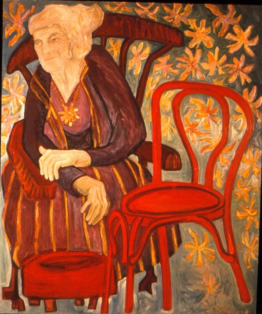 oil portrait of an Old Woman and Red Chair