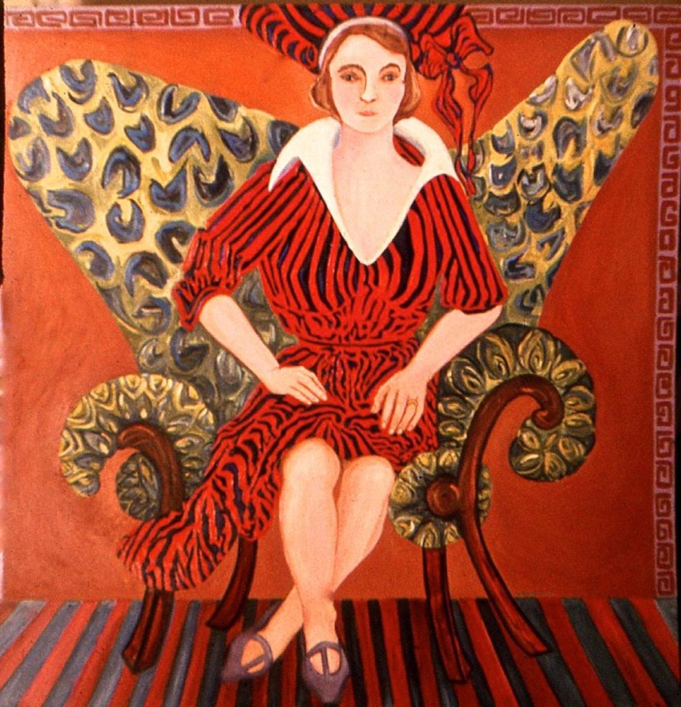 oil portrait of Nancy Beals in the Batwing Chair