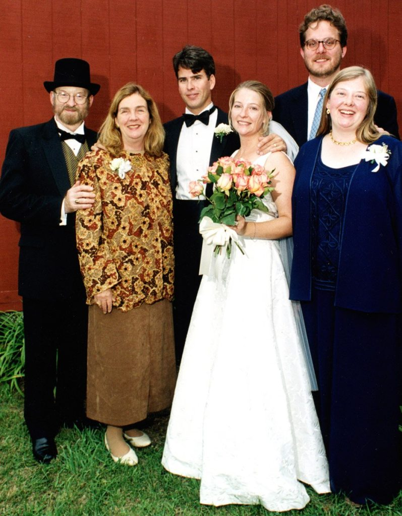 six couples: Beth's dress for Naomi and Jeff's wedding